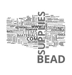 Bead supplies text word cloud concept vector