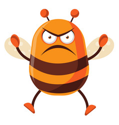 Bee is angry on white background vector