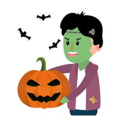 Boy with frankenstein costume and pumpkin vector