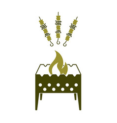 brazier grill with kebab icon vector image