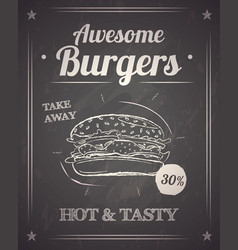 Burger monochrome poster on chalkboard vector