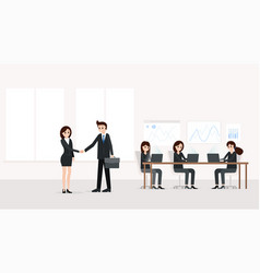 businessman and businesswoman in modern office vector image