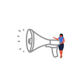 businesswoman holding megaphone loudspeaker vector image