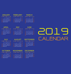 Calendar 2019 yellow white text number on blue vector