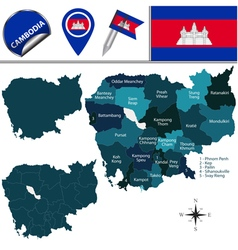 Cambodia map with named divisions vector image