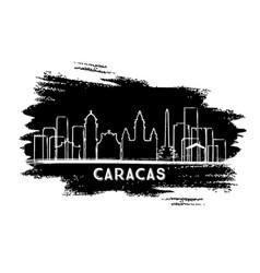 Caracas venezuela city skyline silhouette hand vector