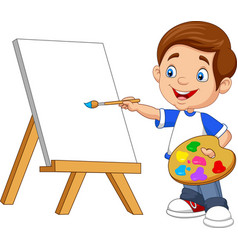 Cartoon boy painting on white background vector