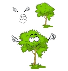 Cartoon green tree on grass vector