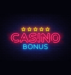 casino bonus neon text bonus neon sign vector image