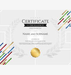 certificate template in football sport theme with vector image