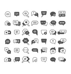 Chat symbols speech clouds black glyph icons vector