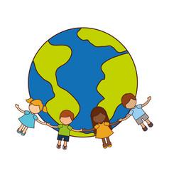 Children holding hands around the world vector