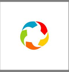 circle colored arrow logo designs vector image