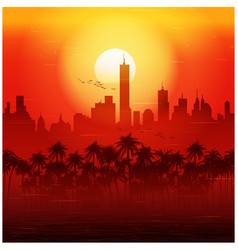 city and palm trees at sunset retro poster vector image