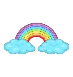 Clouds and rainbow icon cartoon style vector image