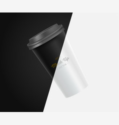 Coffee cup mockup on black and white background vector