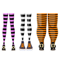 collection cartoon witch legs in striped vector image