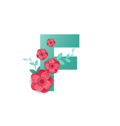 Color letter f with beautiful flowers vector