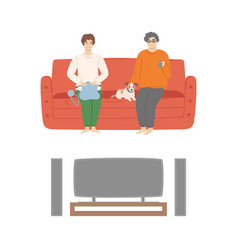 couple watching films at home cinema center set vector image