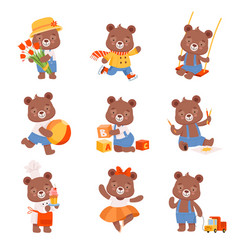 Cute cartoon bears set bear animal ice vector