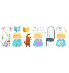 cute girl reading studying books eating food vector image