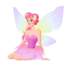 Cute sitting fairy in pink dress with wings vector