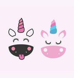 cute unicorn face design childrens graphics vector image