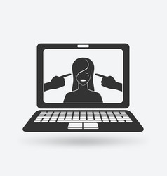 cyberbullying concept upset girl victim of online vector image