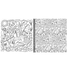 Doodle summer beach set and seamless pattern vector