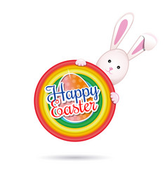 Easter bunny with easter greetings easter banner vector