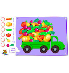 Educational page for kids how many pieces each vector