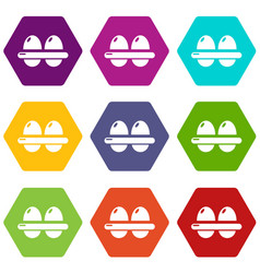eggs icons set 9 vector image