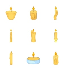 Festive candles icons set cartoon style vector