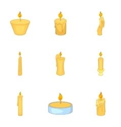 Festive candles icons set cartoon style vector