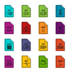 File format icons doodle set vector