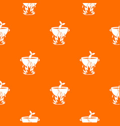 fish soup on a fire pattern seamless vector image