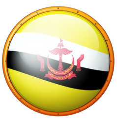 Flag of brunei on round badge vector