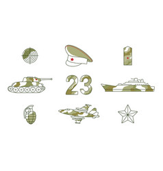 flat army military fatherland defender set vector image