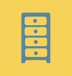 Flat icon chest of drawers vector