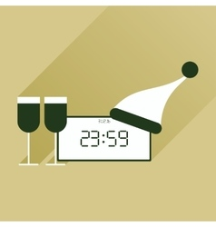 Flat icon with long shadow New Year clock glasses vector