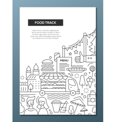 Food Track - line design brochure poster template vector image