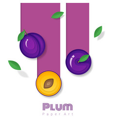 Fresh plum fruit background in paper art style vector