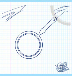 frying pan line sketch icon isolated on white vector image