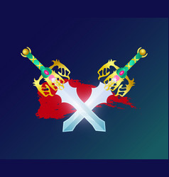 Game decoration element with crossed swords vector