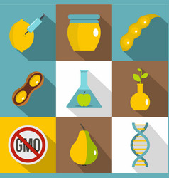 gmo laboratory icon set flat style vector image