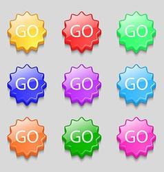 Go sign icon symbols on nine wavy colourful vector