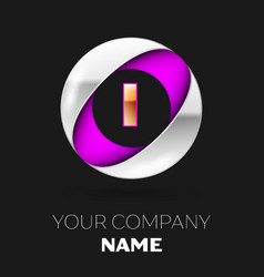 golden letter i logo in the silver-purple circle vector image
