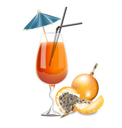 granadilla fruit cocktail realistic summer vector image