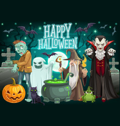 Halloween ghost pumpkin zombie and dracula vector