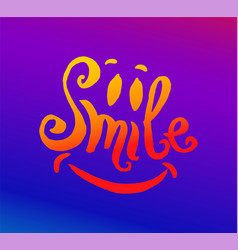 hand drawn of smile lettering vector image